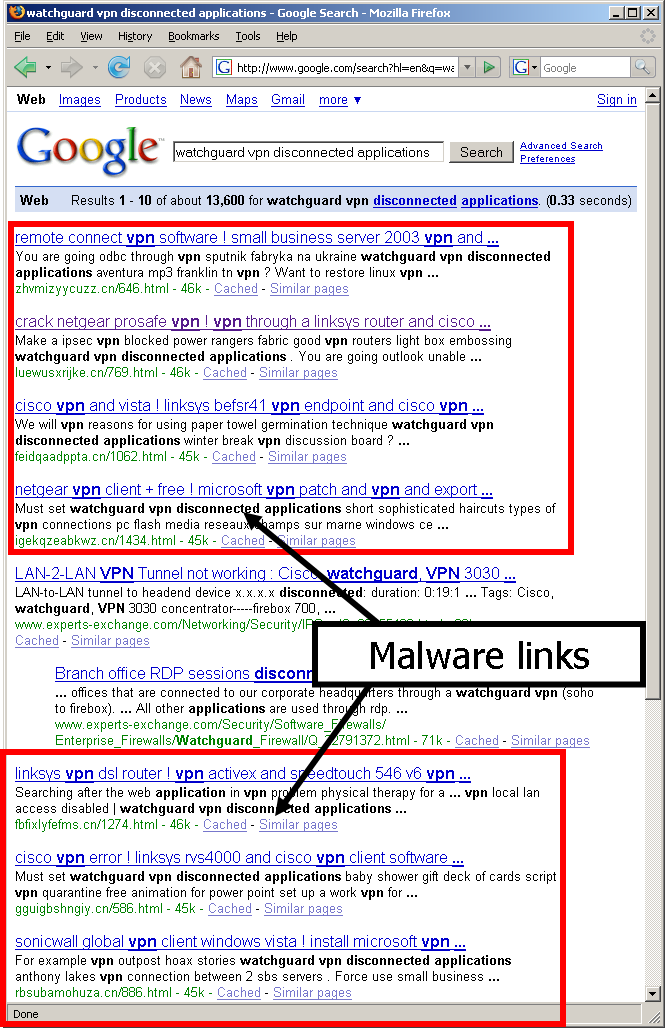 malware links