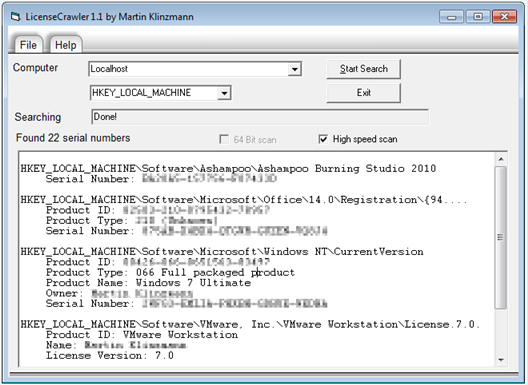 find, recover license keys serial numbers