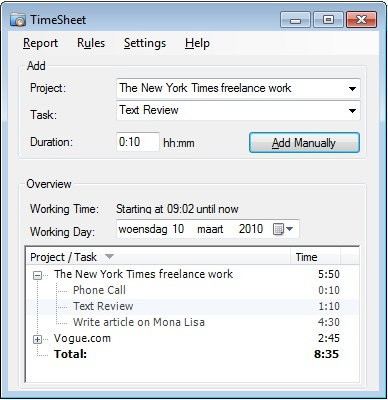 time sheet tracking software